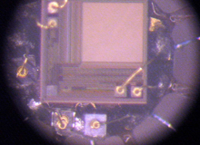 1.7 mm diameter camera- die and leds assembly on flex (wirebonding)